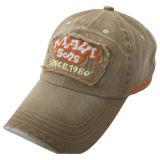 Gorra de béisbol lavada de color caqui de encargo con el Applique Gjwd1748 de la tela