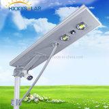 70W indicatore luminoso esterno tutto in un indicatore luminoso di via solare Integrated del LED con il sensore di PIR