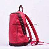 복숭아 빨간 작약 꽃 패턴 PU 가죽 방수 여자 연약한 책가방
