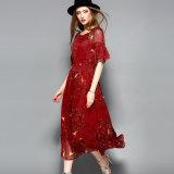 Vestito lungo dalla vita elastica rossa della stampa floreale per le donne