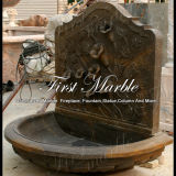 Fontana di parete di pietra di marmo di Giallo Marrone del giardino del granito Mf-772