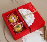 De Goederen van de vlek 2 Pak van het Zwarte Vakje van Mooncake van het Document van Kraftpapier, het Gevouwen Vakje van het Document, het Vakje van de Gift Mooncake