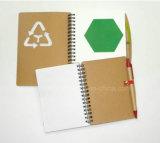 Mini caderno espiral recicl com harmonização da pena colorida