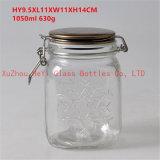シール・ガラスの食糧瓶が付いている円形のガラス容器