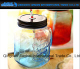 Vaso di muratore di vetro impresso su ordine con i coperchi e la paglia
