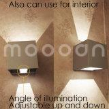 현대 잘 고정된 내부와 외면을%s 4W LED 벽 빛 왔다갔다 주조 알루미늄 경계 입방체를 정지한다
