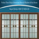 Portas deslizantes de alumínio com grão de madeira em alumínio com painel decorativo de vidro de dupla janela