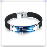 Edelstahl-Armband-Silikon-Schmucksache-Silikon-Armband (LB502)