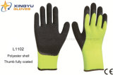 10g High Grade Polyester Shell Latex Coated Crinkle Safety Work Glove с Thumb Coating (L1102)