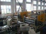Línea esmaltada PVC+ASA cadena del azulejo de azotea de la casa de producción acanalada del azulejo del edificio de la cuesta del PVC dos capas de la maquinaria 880 1050 de la hoja