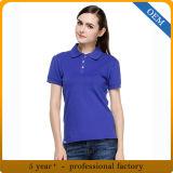 デザイン女性のブランク明白な綿のポロのTシャツ