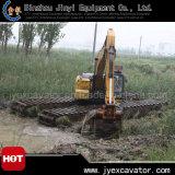 Amphibious Pontoon Jyae-329를 가진 준설 Excavator