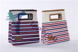 Saco de Tote acessível do almoço da caixa do refrigerador com guarnição de couro