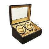 (4+6) dobadouras barata preta do relógio do couro do plutônio dos entalhes com costura