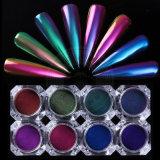 Poudre de colorant d'art de clou de licorne de changement de vitesse de caméléon de miroir de chrome de laser