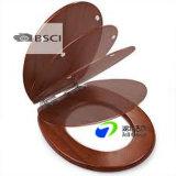 Siège des toilettes de placage de PVC avec la couverture ronde des graines en bois différentes