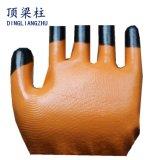 Nylon перчатки работы 13G при покрынный нитрил усиленный перстом