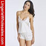 """Jogos """"sexy"""" da roupa interior do laço do cetim dos pijamas da roupa de noite do Short do verão das mulheres"""