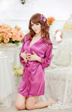 Peignoir, peignoir mou de collier de kimono de peluche de robe longue de femmes