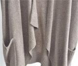 Winter-lange Hülsegeöffnete vordere Knit-Frauen-Wolljacke mit Tasche