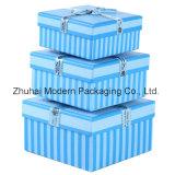 Cadre de empaquetage personnalisé de cadeau bleu de couleur de logo pour Noël/ensemble de papier de Box/a de caisse d'emballage