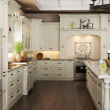 L blanc Shape Wood Kitchen Cabinet avec l'île (OP15-S05)