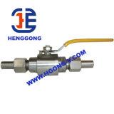 Válvula de esfera rosqueada do aço inoxidável 304 de DIN/API 2PC