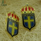 Pin Finished del risvolto della Svezia dello smalto molle con la scheda della protezione
