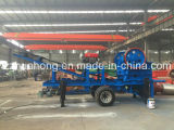 La trituradora de quijada diesel móvil de Huahong, rueda montó la trituradora de quijada móvil del motor diesel