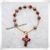 Décennie unique 8mm perles en plastique Bracelet Rosaire avec Little Croix de prière (IO-CE054)