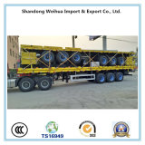 de 12.4m ou de 13m do triângulo 40t do pneumático de Fuwa 3 do eixo de parede lateral da base lisa do caminhão reboque Semi para Vietnam