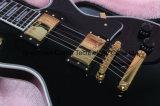 Guitare obligatoire de coutume de bois d'ébène noir de Lp