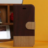 PU Leather Wallet Case Pouch Brown/Black Wood Grain для iPhone 5s
