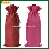 Wein-Flaschen-Beutel des Qualität Eco das Leinenjutefaserdrawstring-einzelner (TP-WB107)