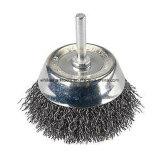 Cepillo prensado de la taza del alambre de acero con el eje