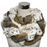 Signora Fashion Faux Fur Knitted Scarf con POM-Poms (YKY4363)