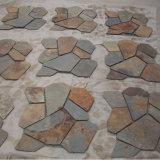 De Chinese Veelkleurige Steen van het Netwerk van de Mat van de Bevloering van de Flagstone van de Lei (smc-R070)