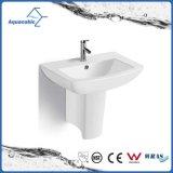 Bassin de main de lavage arrêté par mur en céramique de piédestal de bassin dans la salle de bains (ACB1170)