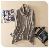 Chandail pur de cachemire de modèle de tricots de col roulé de long pull neuf de chemises avec le bord irrégulier pour le ressort