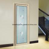 Porte en aluminium intérieure de salle de séjour de Docoration avec le panneau simple en verre de bord de Grinded