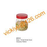 vasi di memoria dell'alimento 700ml, vaso di vetro dell'alimento con la protezione di plastica