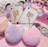 iPhone 5/5s/6/6s/6plus Mobile Coverのための2016新しいLuxury Crystal Mickey Head Bowknot Fur Ball Soft TPU Cell Phone Case