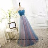 Frauen-Tulle-trägerloses langes Brautjunfer-Kleid-Bankett-reizvolles Partei-Kleid