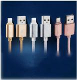 cable de nylon principal de aluminio del USB del cargador de la piel 2.1A del 1m para el iPhone 6