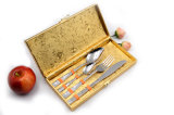 レストランの食事用器具類金カラー食事用器具類はステンレス鋼の平皿類セットをセットする