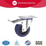 3 Zoll-Bremsen-Schwenker-blauer Gummieuropa-Typ industrielle Fußrolle