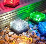Lumière souterraine actionnée solaire de brique solaire de glace en verre DEL