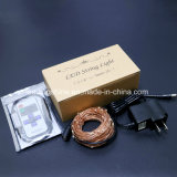 La chaîne de caractères blanche chaude de Dimmable DEL allume le câblage cuivre argenté flexible d'enduit avec le certificat d'UL
