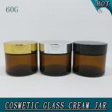 frasco 60g de creme de vidro cosmético ambarino com tampa do metal