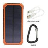 Солнечный внешний блок батарей портативное 12000mAh удваивает крен силы заряжателя солнечной батареи USB с аварийными освещениями Carabiner СИД для таблетки сотовых телефонов